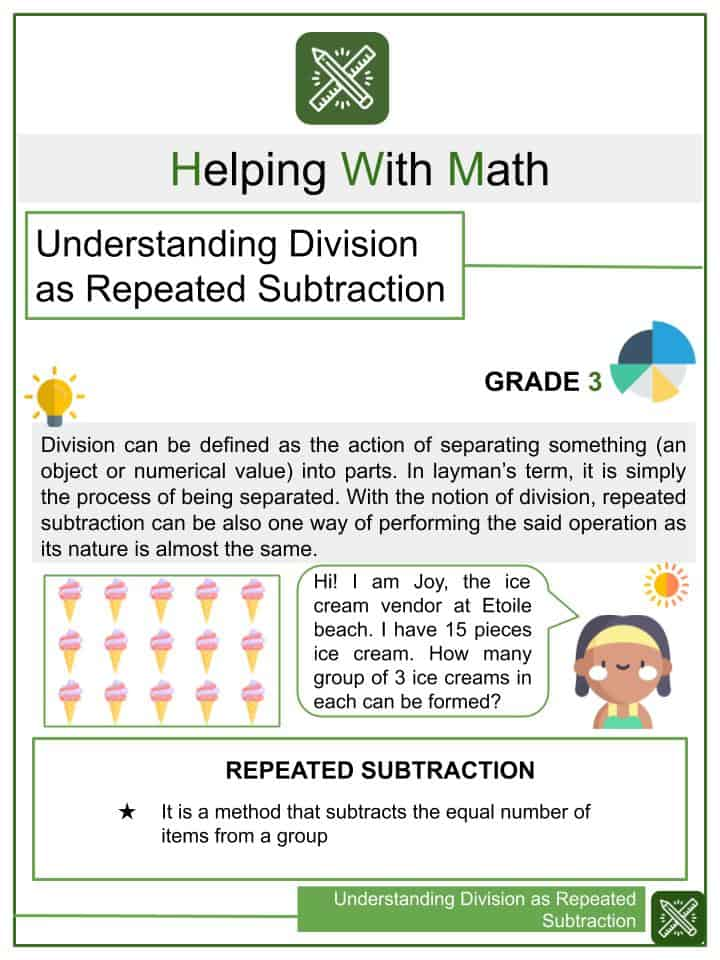 Understanding Division as Repeated Subtraction Worksheets