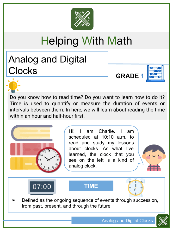 Analog and Digital Clocks Worksheets