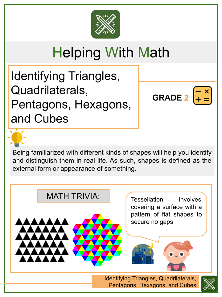 Identifying Triangles, Quadrilaterals, Pentagons, Hexagons, and Cubes Worksheets