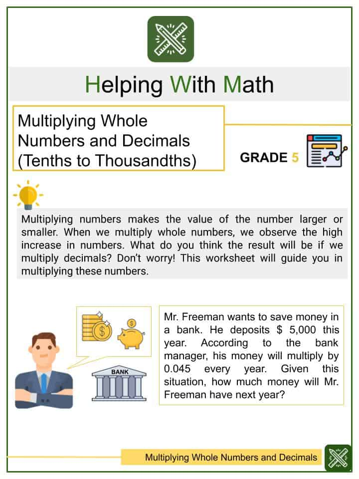 Multiplying Whole Numbers and Decimals (Tenths to Thousandths) Worksheets