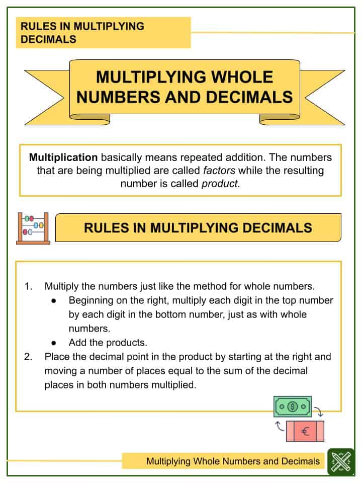 Multiplying Whole Numbers and Decimals (Tenths to Thousandths) Worksheets(1)