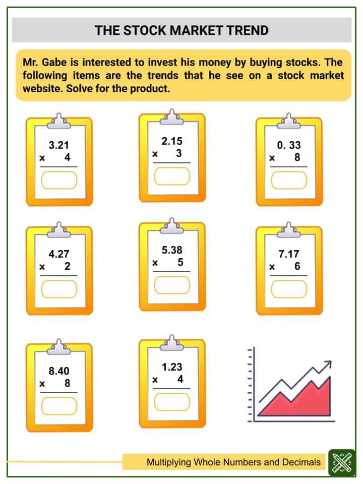 Multiplying Whole Numbers and Decimals (Tenths to Thousandths) Worksheets(3)