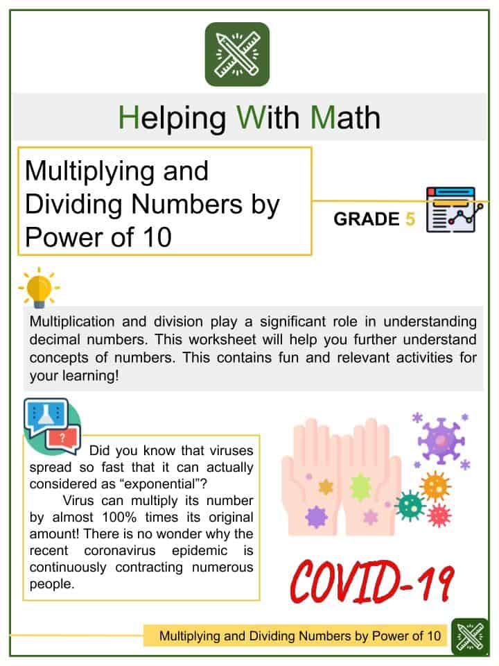 Multiplying and Dividing Numbers by Power of 10 Worksheets