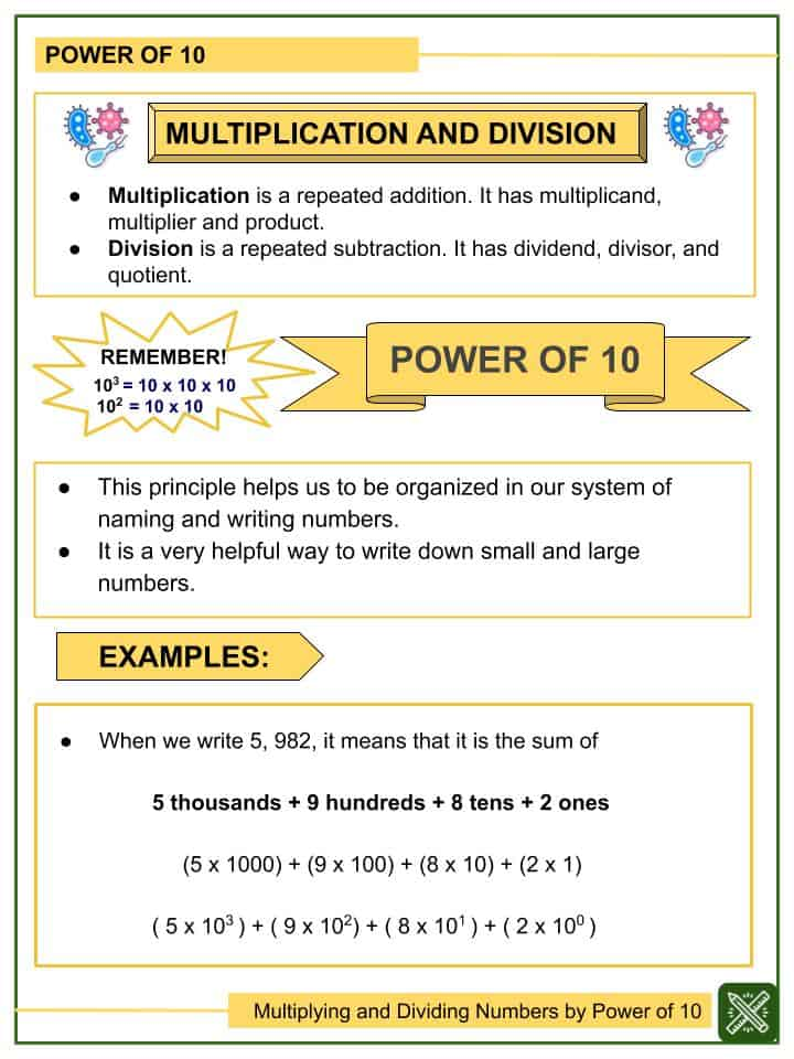 Multiplying and Dividing Numbers by Power of 10 Worksheets(1)