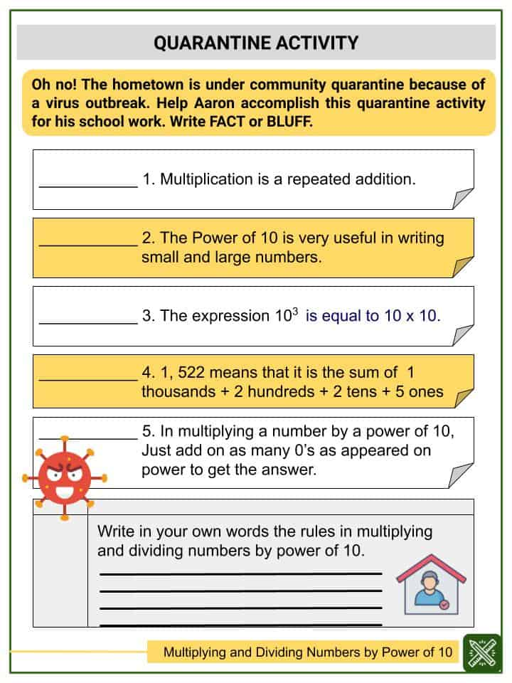 Multiplying and Dividing Numbers by Power of 10 Worksheets(3)