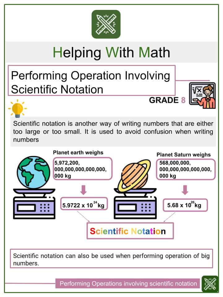 Performing Operations using Scientific Notation Worksheet