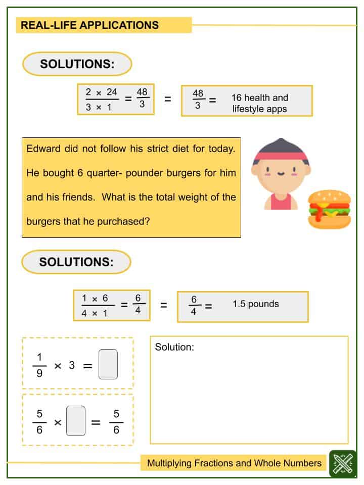 Sample - Multiplying Fractions and Whole Numbers Worksheets (2)