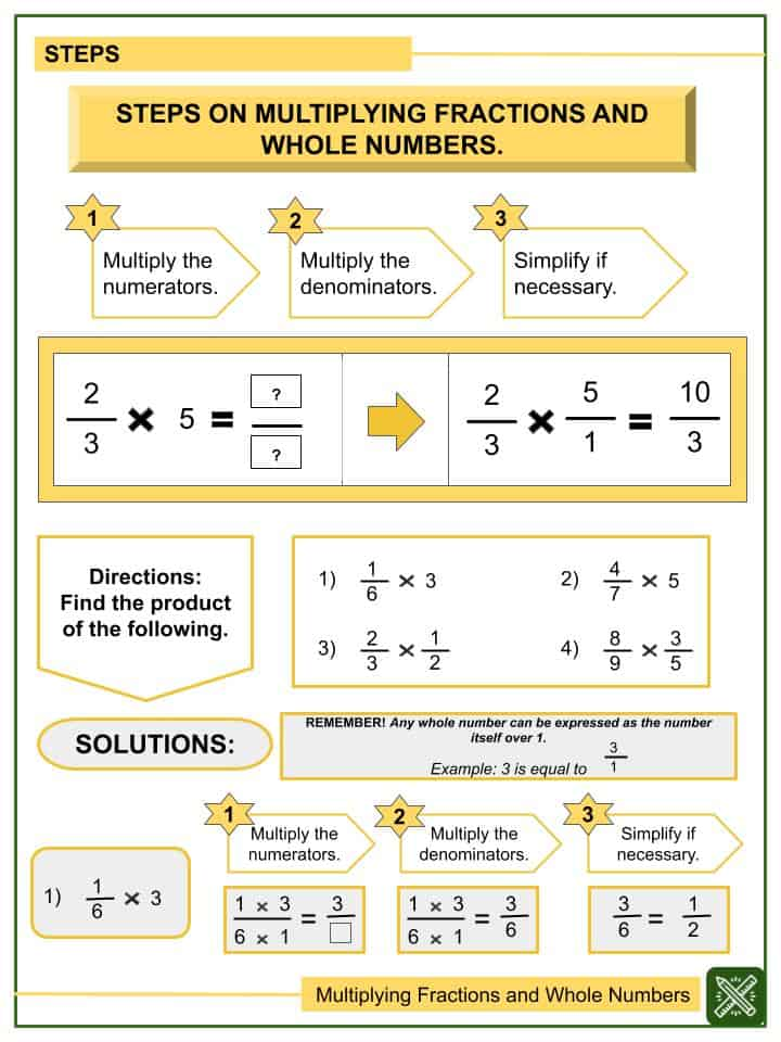 Sample - Multiplying Fractions and Whole Numbers Worksheets