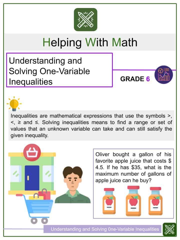Understanding and Solving One-Variable Inequalities Worksheets