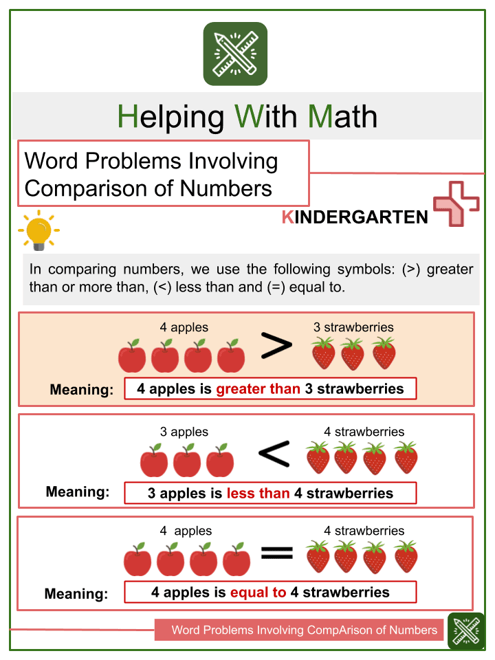 Word Problems Involving Comparison of Numbers