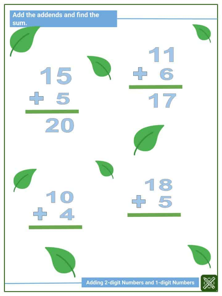 Adding 2-digit Numbers and 1-digit Numbers (2)