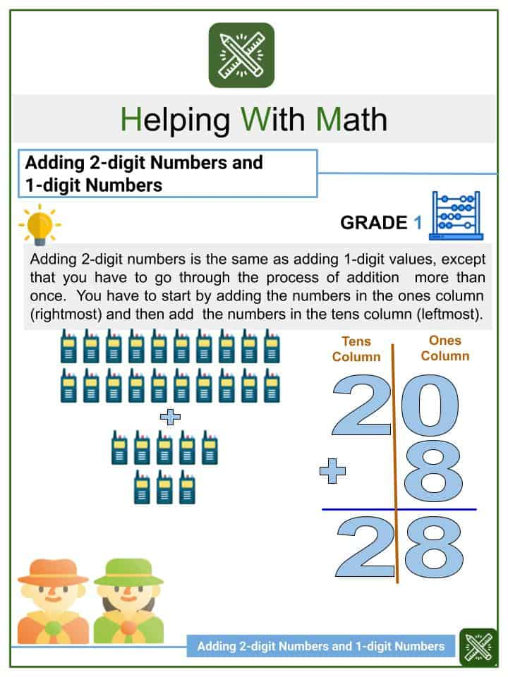Adding 2-digit Numbers and 1-digit Numbers