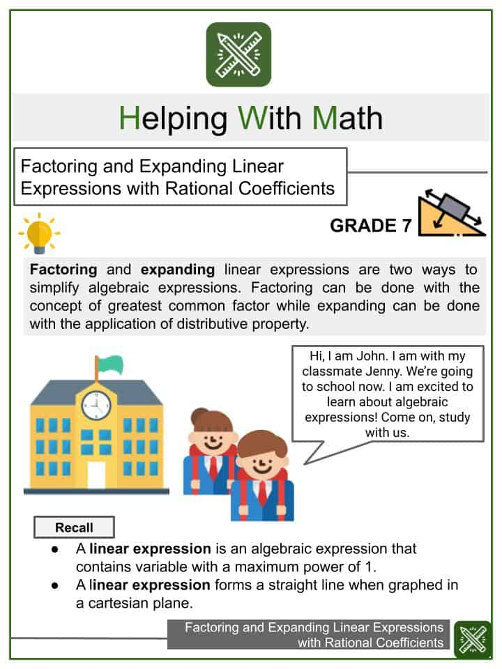 Factoring and Expanding Linear Expressions with Rational Coefficients