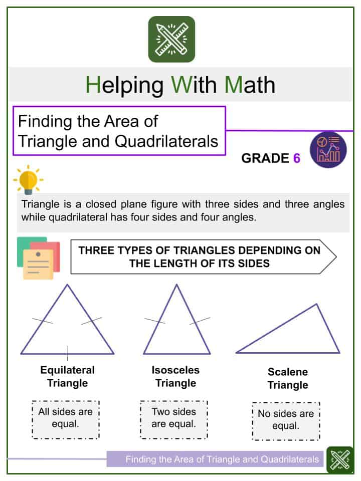 Finding the Area of Triangle and Quadrilaterals Worksheets