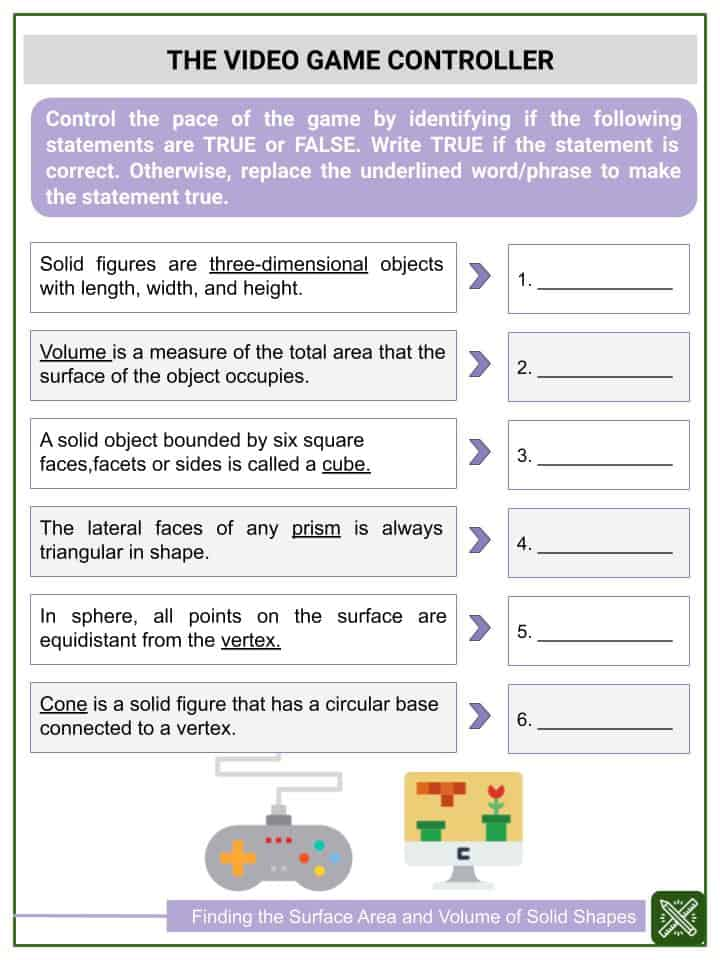 Finding the Surface Area and Volume of Solid Shapes Worksheets (3)