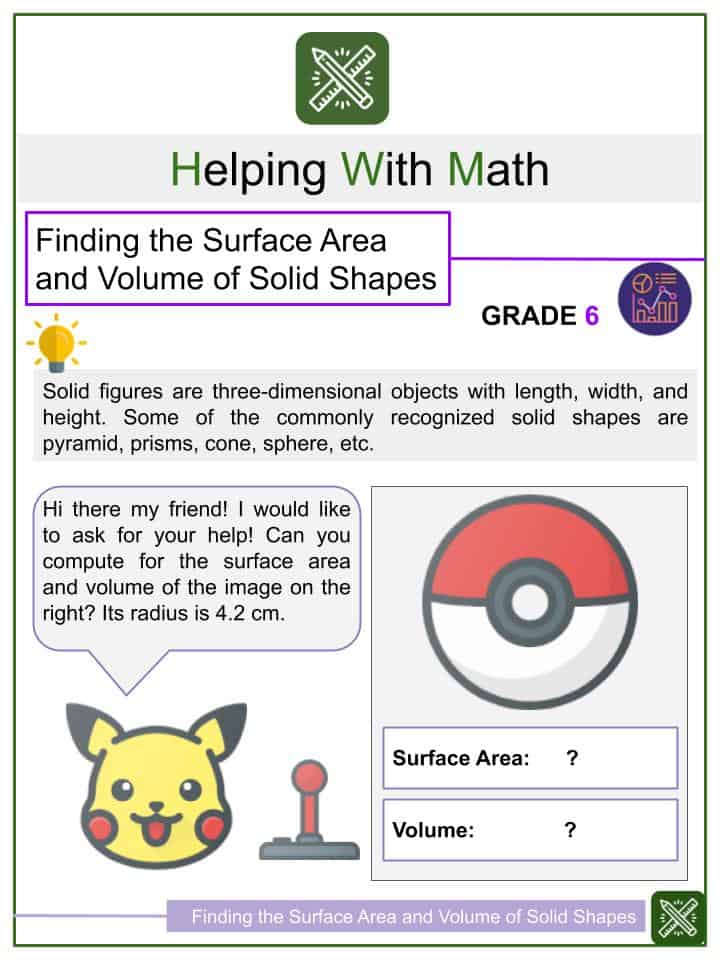 Finding the Surface Area and Volume of Solid Shapes Worksheets