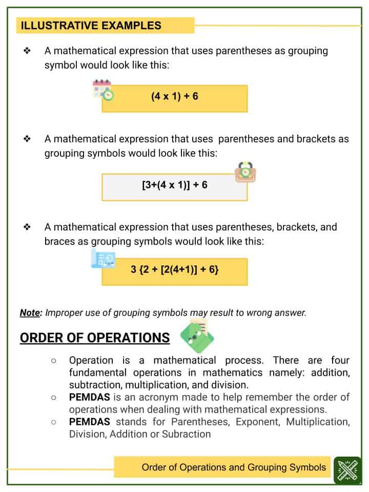 Order of Operations and Grouping Symbols Worksheet (1)