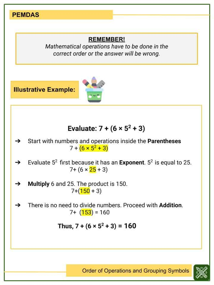 Order of Operations and Grouping Symbols Worksheet (2)