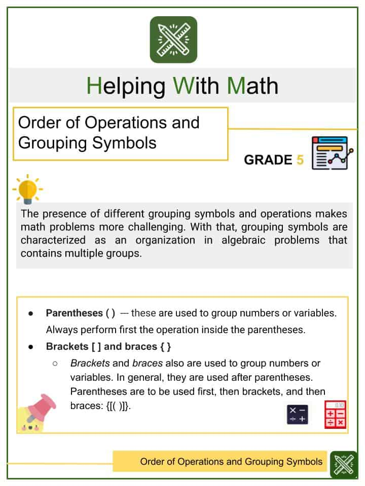 Order of Operations and Grouping Symbols Worksheet