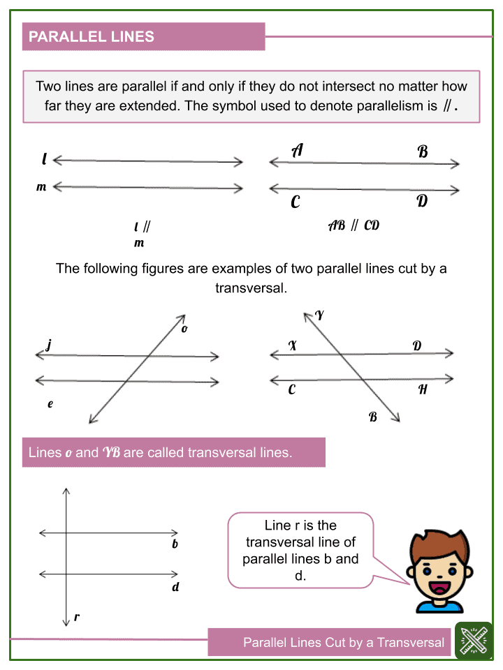 Parallel lines Cut by a Transversal Worksheets (1)