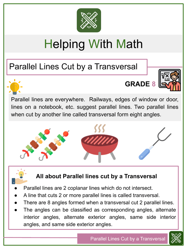 Parallel lines Cut by a Transversal Worksheets