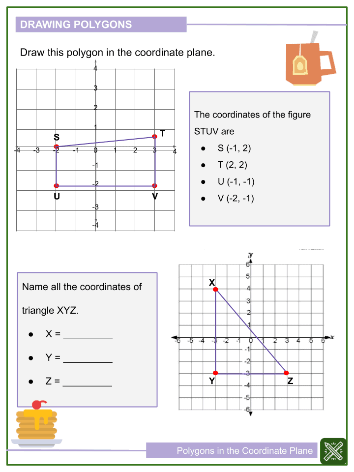 Polygons in the Coordinate Plane Worksheets (2)
