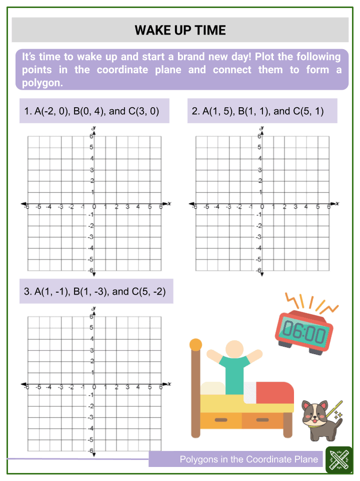 Polygons in the Coordinate Plane Worksheets (3)