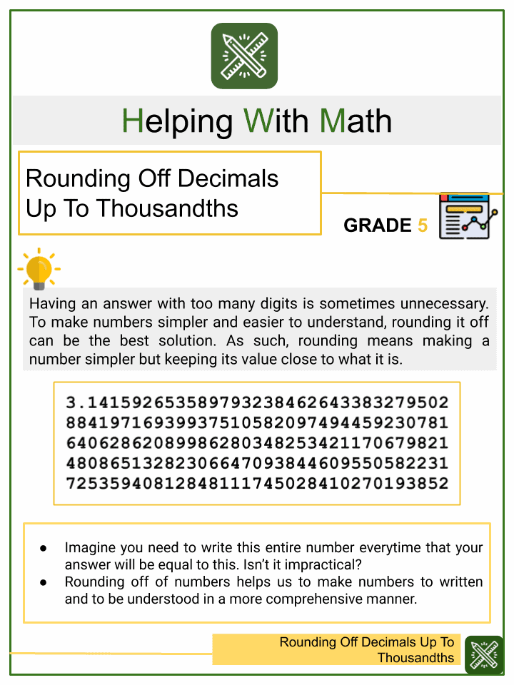 Rounding Off Decimals Up To Thousandths Worksheets