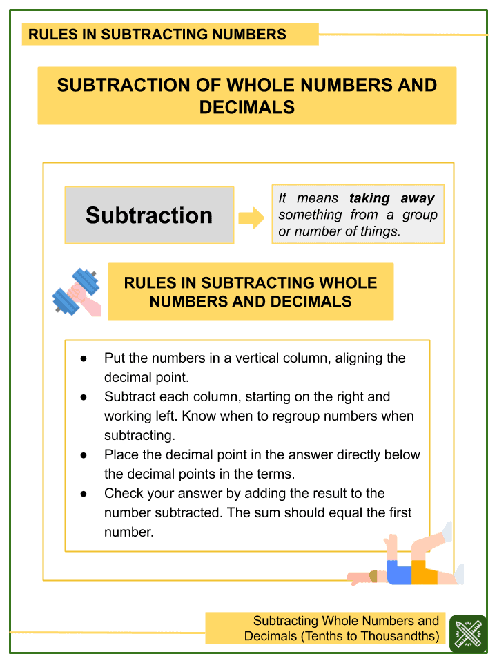 Subtracting Whole Numbers and Decimals (Tenths to Thousandths) Worksheets (1)