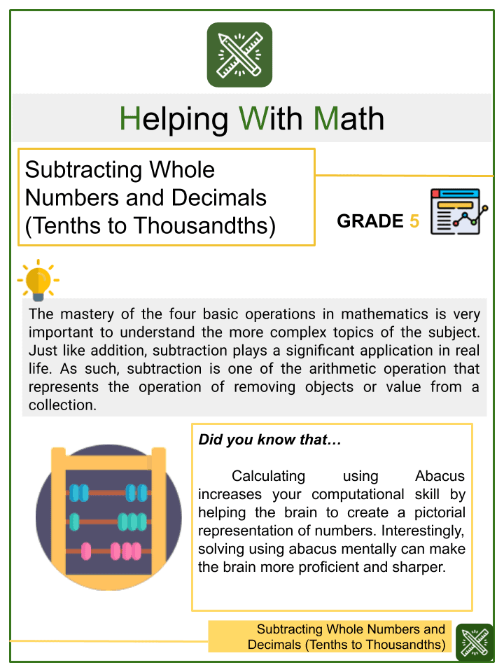 Subtracting Whole Numbers and Decimals (Tenths to Thousandths) Worksheets