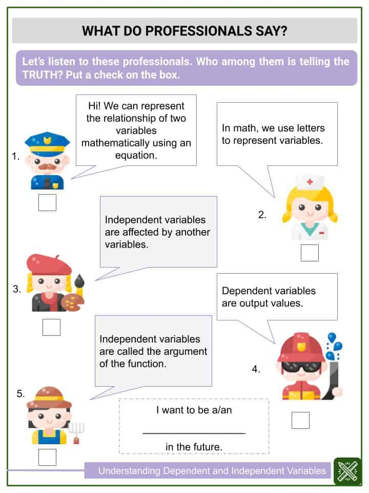 Understanding Dependent And Independent Variables Math Worksheets