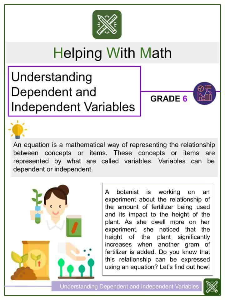 Understanding Dependent and Independent Variables Worksheets