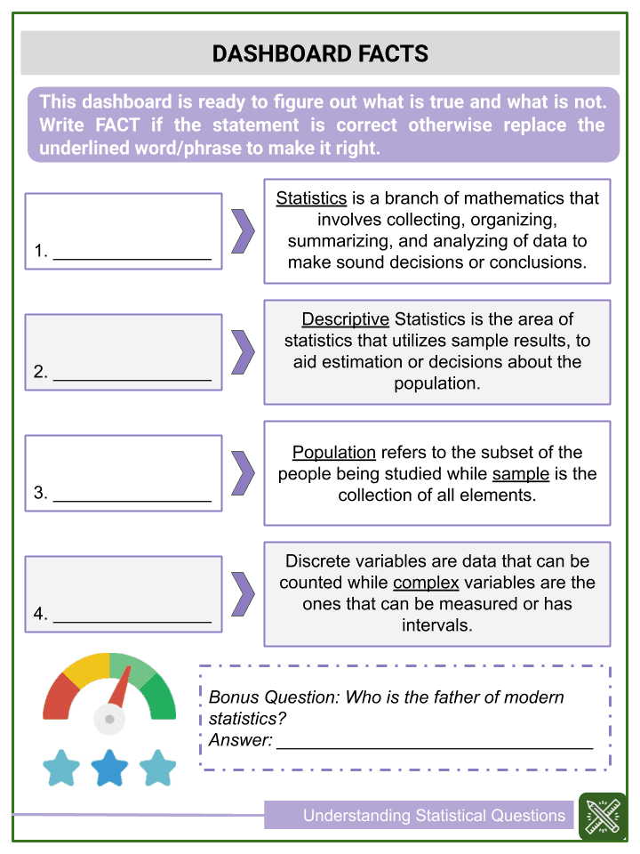 Understanding Statistical Questions Worksheets (3)
