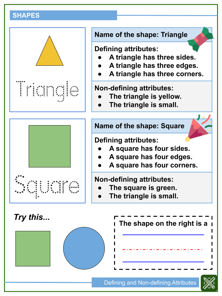 Defining and Non-defining Attributes of Shapes Worksheets (1)