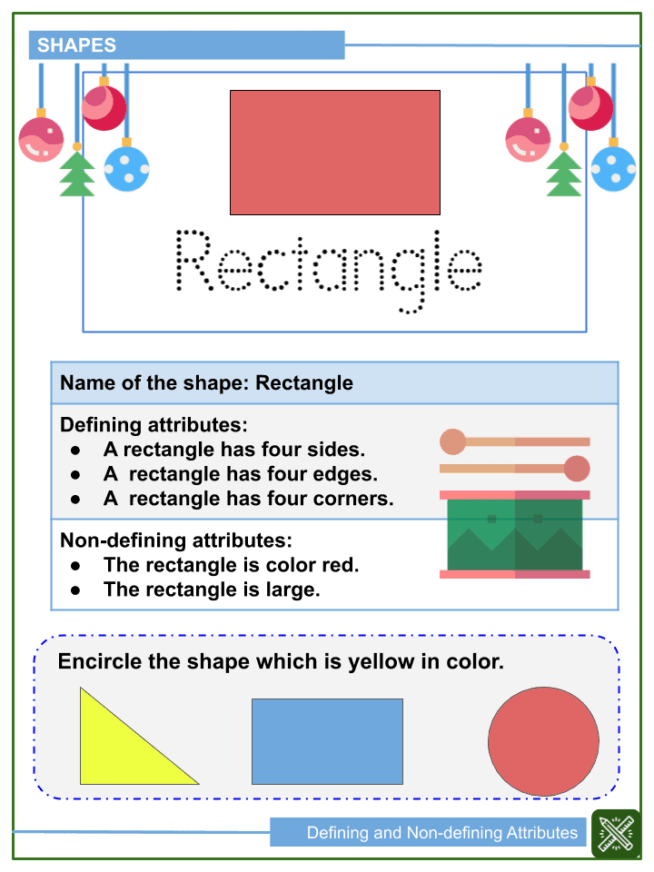 Defining and Non-defining Attributes of Shapes Worksheets (2)