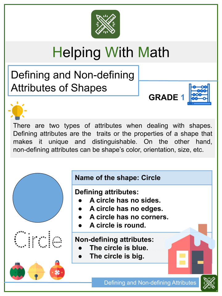 Defining and Non-defining Attributes of Shapes Worksheets