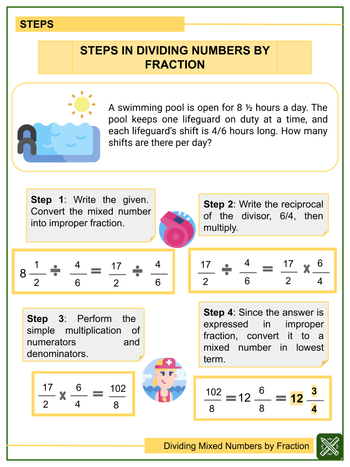 Dividing Mixed Numbers by Fractions Worksheet (1)