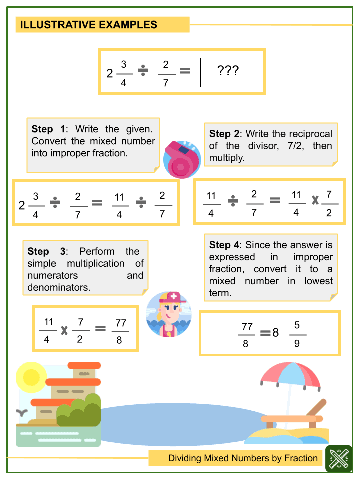 Dividing Mixed Numbers by Fractions Worksheet (2)