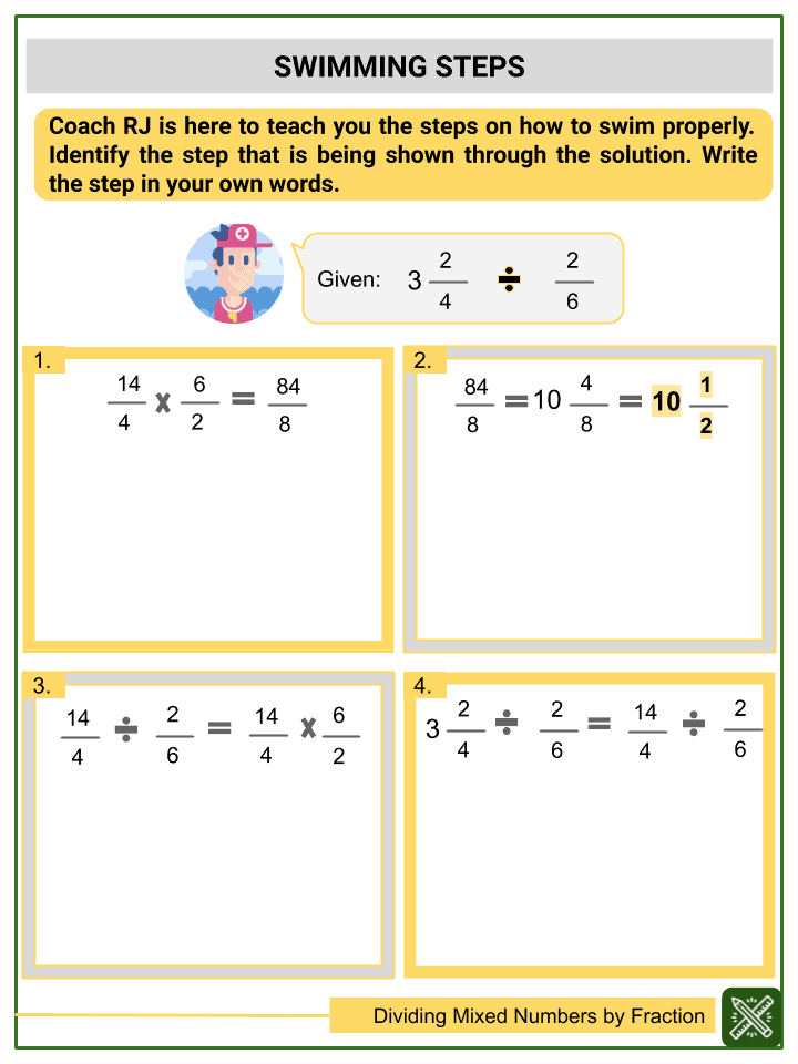 Dividing Mixed Numbers by Fractions Worksheet (3)