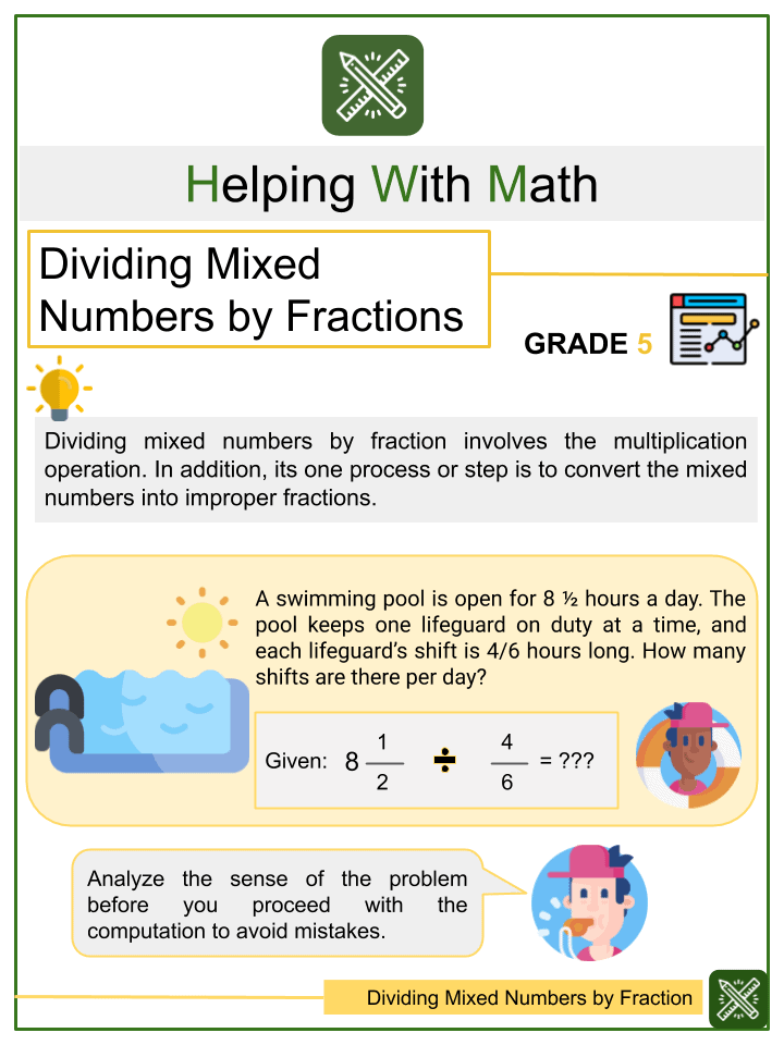Dividing Mixed Numbers by Fractions Worksheet