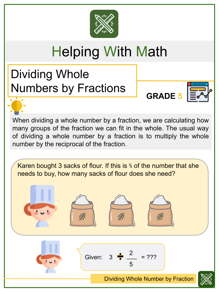 Dividing Whole Number by Fraction Worksheet
