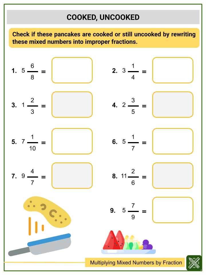 Multiplying Mixed Numbers by Fractions Worksheets (3)