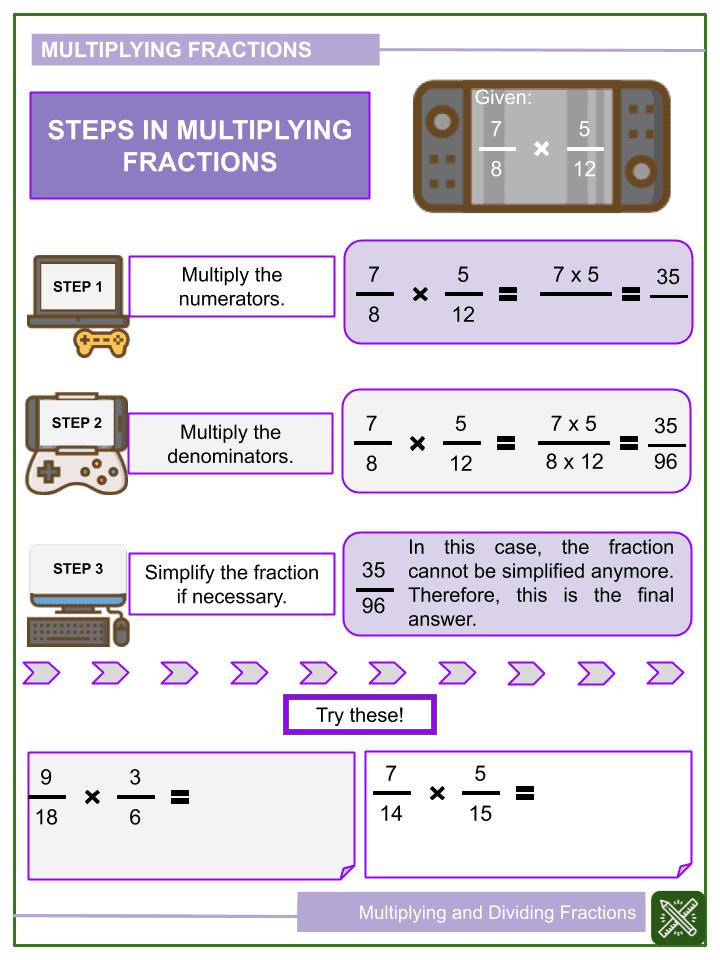 Multiplying and Dividing Fractions Worksheet (1)