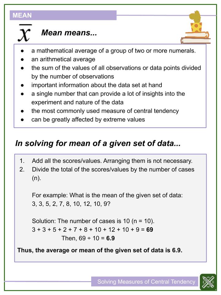 Solving Measures of Central Tendency Worksheets (1)