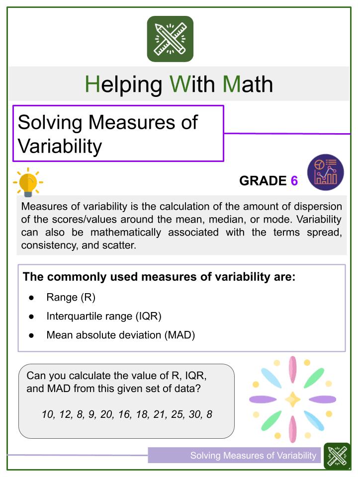 Solving Measures of Variability Worksheets