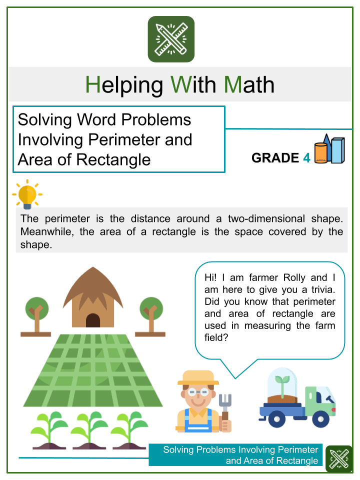 Solving Word Problems Involving Perimeter and Area of Rectangle Worksheets