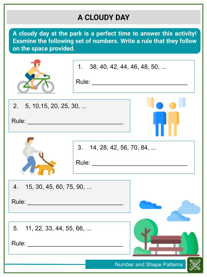 Understanding Number and Shape Patterns Worksheets (3)