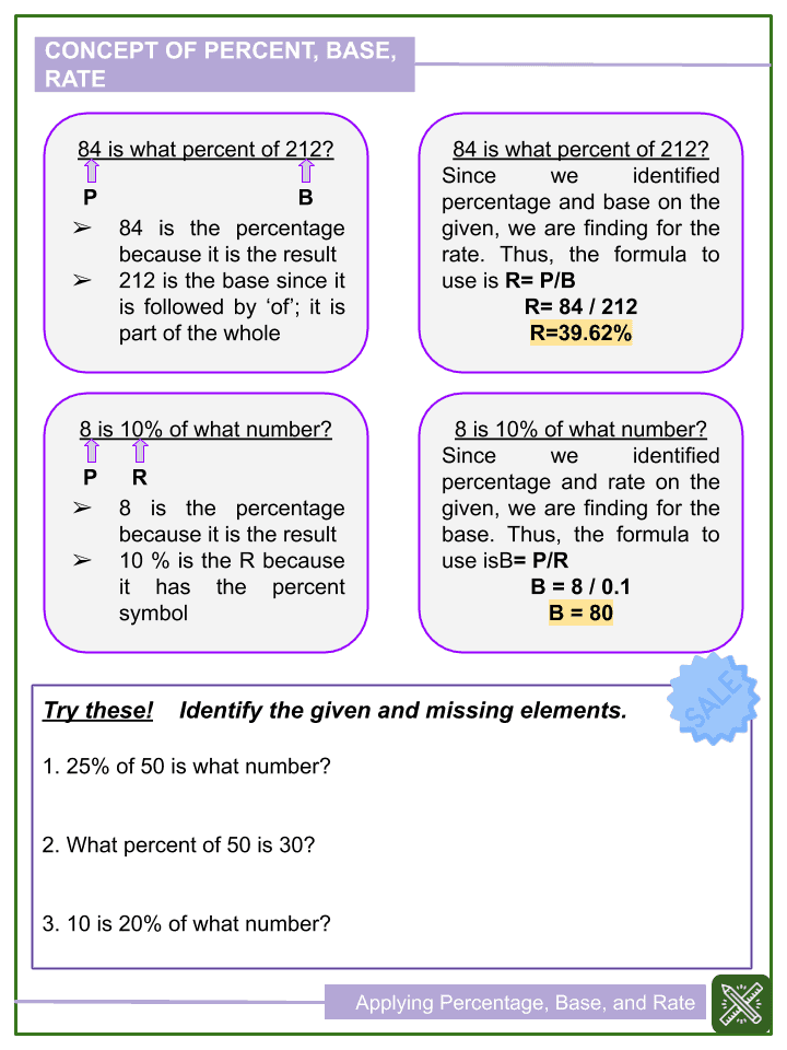 Applying Percentage, Base, and Rate Worksheet (2)