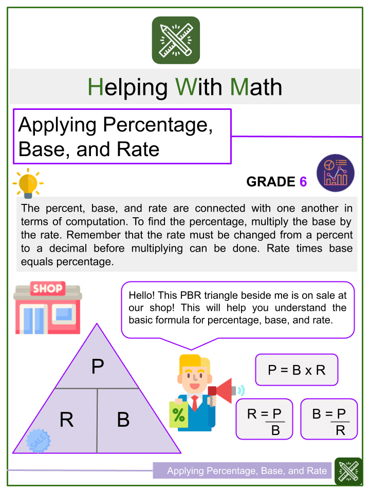 Applying Percentage, Base, and Rate Worksheet