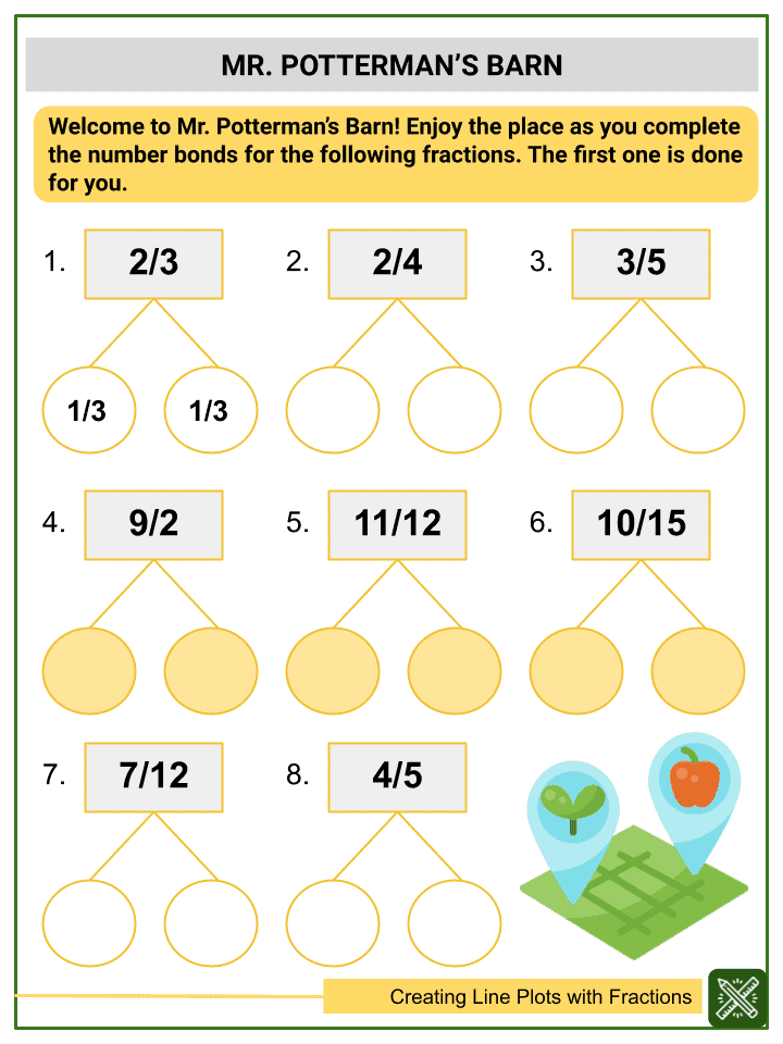 Creating Line Plots with Fractions Worksheets (3)